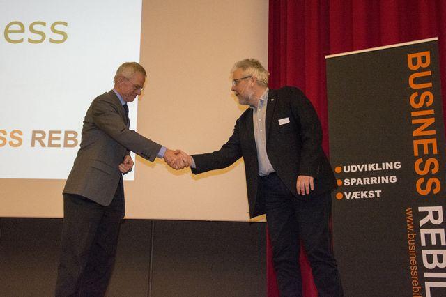 Tidligere DONG-chef Anders Eldrup og Rebilds borgmester Leon Sebbelin til Green Business på Comwell Sport i Rebild.