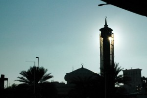 Solnedgang over Dubai gamle by