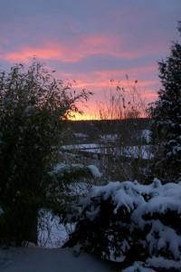 Solnedgang i haven, Skørping