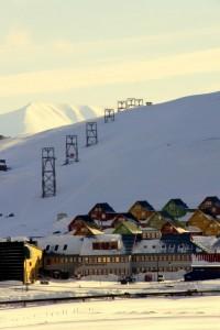 Tovbane til kulmine over Longyearbyen
