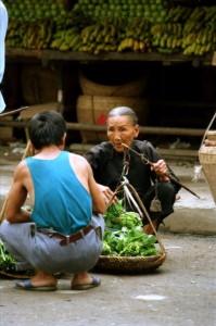 Yangshuo 1995 -Grøntsager på marked