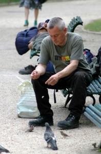 Rejsende fodrer duer i Paris