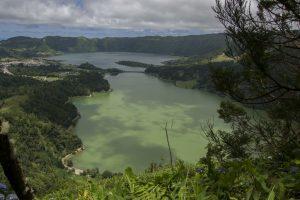 Tvillingesøerne - den ene mest grøn, den anden mest blå. Det skyldes genspejling fra henholdsvis træer og himmel